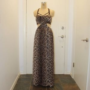 Sans Souci Maxi animal print dress w/ cutout sides